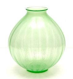 Green glass Serica vase No.5 with crackle design A.D.Copier 1928 executed by Glasfabriek Leerdam / the Netherlands