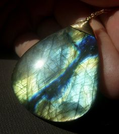 Large Labradorite Necklace on Goldfill  Fiery by beadstylin