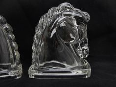 Vintage Horse head bookends, clear glass horse heads