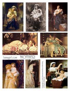 vintage art digital collage sheet paintings mother children babies Victorian Renaissance images
