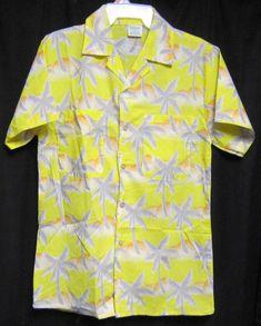 2eb641e9 Small Tropicana Hawaiian Shirt yellow with Gray Palm Trees and Orange Dunes  #Tropicana #ButtonFront