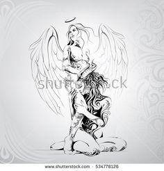 Vector silhouette of an angel and demon