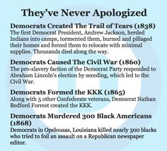 The Democratic Party has never apologized for any of their racist history.