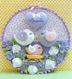 H Felt Crafts Diy, Baby Crafts, Crafts For Kids, Arts And Crafts, Baby Mobile, Felt Baby, Fabric Birds, Felt Patterns, Christmas Makes