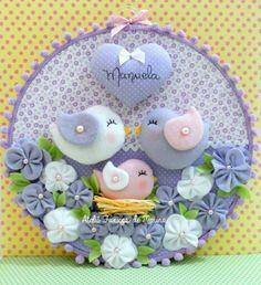 H Felt Crafts Diy, Baby Crafts, Crafts For Kids, Arts And Crafts, Felt Flowers, Fabric Flowers, Baby Mobile, Felt Baby, Fabric Birds
