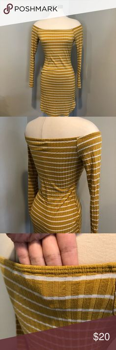 Striped Summer Off The Shoulder Mini Dress EUC, worn twice. Super cute mustard yellow white striped mini with long sleeves. Very stretchy! Not see through but light weight. Perfect for vacation!   Forever 21 H&M Zara topshop ootdfash Lola shoetique naked wardrobe Kendal and Kylie tobi sabo skirt Dresses Mini