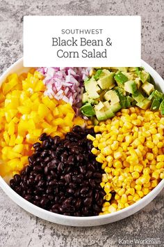 Southwest Black Bean and Corn Salad Recipe / This Southwest Black Bean and Corn Salad recipe (also called Cowboy Caviar) is easy, inexpensive, & vegetarian. Perfect for buffets & potluck. #easyrecipes #familyfriendly #sides #vegetables Black Bean Corn Salad, Black Bean Chili, Bean Salad, Black Beans, Corn Salad Recipes, Corn Salads, Great Recipes, Healthy Recipes, Healthy Foods