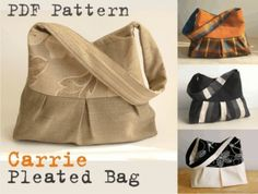 PDF Sewing Pattern Pleated Bag CARRIE   Sewing Pattern   YouCanMakeThis.com