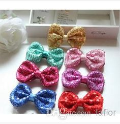 Sequins Bow Girls Hairpin New Arrival Girls 2015 Sweet Princess Hair Accessories Korean Style Bright Sequins Bow Barrettes