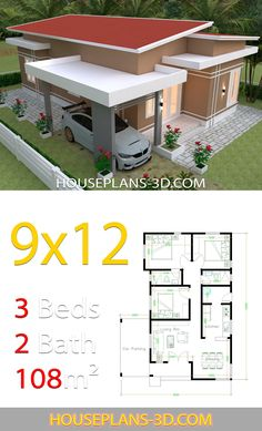 House design with 3 bedrooms slop roof - House Plans Little House Plans, Dream House Plans, House Layout Plans, House Layouts, Home Building Design, Home Design Plans, Simple House Design, Modern House Design, Affordable House Plans
