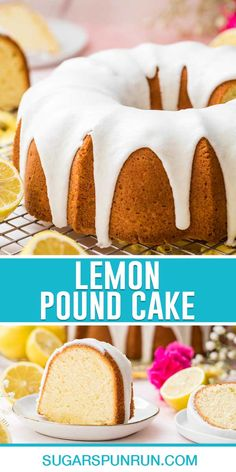 Lemon pound cake combines rich pound cake with the tart taste of lemon! Recipe includes a how-to video! Lemon Dessert Recipes, Pound Cake Recipes, Cupcake Recipes, Baking Recipes, Cupcake Cakes, Butter Pound Cake, Sour Cream Pound Cake, Cookie Desserts, Easy Desserts