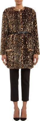 $1,735, Brown Leopard Fur Coat: Nina Ricci Leopard Print Faux Fur Belted Coat. Sold by Barneys New York. Click for more info: https://lookastic.com/women/shop_items/108431/redirect