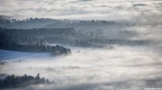 "A ""Sea of Fog"" covers towns and cities in Zürich's Highlands. Bachtel Tower, Zürcher Oberland, Switzerland [2013]  ph: Nicolas Zonvi"