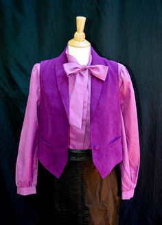 Magenta Secretary Blouse with a Bow by KLeighVintage, $16.75 USD