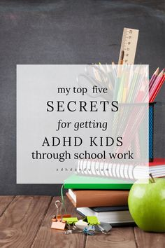 This post lists my top five secrets (and a list of resources) to help ADHD Kids who are struglging getting their school work done. Adhd Odd, Adhd And Autism, Teaching Kids, Kids Learning, Adhd Strategies, Instructional Strategies, Adhd Help, Joy Sign, Kids And Parenting