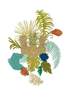 Pineapples, Claire Coles. Realistic. Digital Print. £350. A beautiful large scale limited edition print with an intricate composition by Claire Coles.