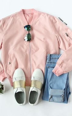 Fall Fashion - Pink Long Sleeve Pockets Zipper Jacket with blue denim and white sneaker from romwe.com