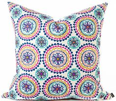 Blue suzani pillow cover - Boho pillow in turquoise, hot pink, cream, navy blue, aqua - Tribal Boho Bohemian Ethnic Southwest throw pillow by INKandLINENco on Etsy https://www.etsy.com/ca/listing/292737219/blue-suzani-pillow-cover-boho-pillow-in