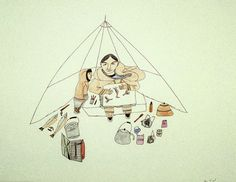 "Napachie Pootoogook ""Napachie Drawing in her Tent"" 1894-85  Collection of the West Baffin Eskimo Co-Operative Ltd., on loan to the McMichael Canadian Art Collection"