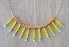 Coucou Suzette / bib chained Necklace gold plated necklace Elegant Statement necklace yellow necklace / Boho tribal jewellery / Collier ethnique elegant