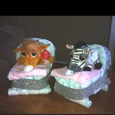 Diaper cakes my sister and I made for a baby shower for twins :)