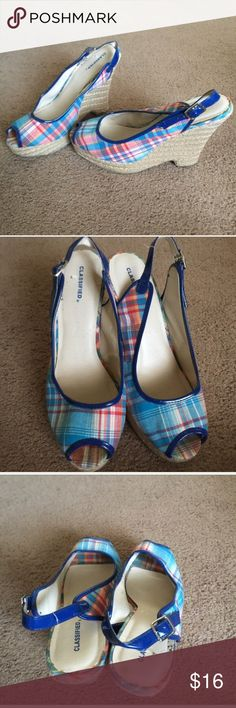 "Classified Blue & Red Plaid Wedge Heels Classified Blue & Red Plaid Wedge Heels. Nice wedge for the spring time outfits. Wedge height 3"". Shoes Wedges"