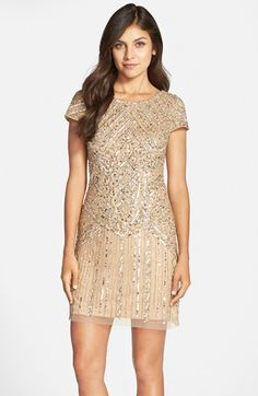 Free shipping and returns on Adrianna Papell Embellished Sheath Dress at Nordstrom.com. Sparkling sequins and beads atop a sheer mesh overlay lend a '20s-inspired flapper look to this intricate cocktail dress.