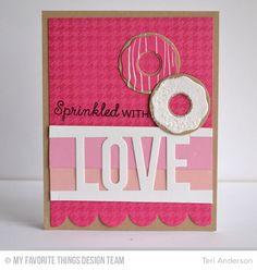 Donuts and Sprinkles, Donuts Die-namics, Houndstooth Background, Love Die-namics - Teri Anderson #mftstamps