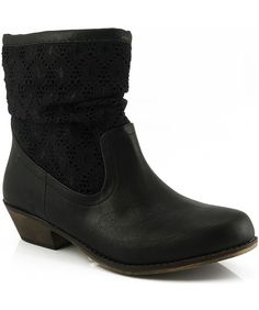 Qupid Trio-19 Lace Contrast Cowboy Western Ankle Boot ** Find out more details by clicking the image : Work boots