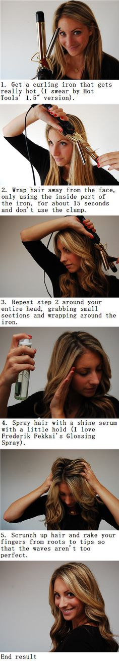 How To Make Beachy Waves | tutorial in picture. I would have to use real hairspray