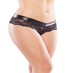 Womens Lead Crotchless Black Lace Briefs Sexy Panties Knickers Underwear