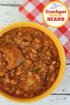 Easy Crockpot Baked Beans With Bacon - Baking Beauty Baked Beans Crock Pot, Slow Cooker Baked Beans, Baked Beans With Bacon, Crock Pot Slow Cooker, Crock Pot Cooking, Slow Cooker Recipes, Crockpot Recipes, Cooking Recipes, Crockpot Dishes