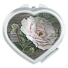 Rose on Weathered Wood Travel Mirror  (Heart Shaped Mirrors)