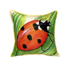 Betsy Drake Ladybug 18-inch Indoor/Outdoor Pillow