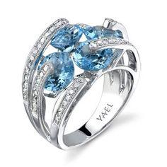 YAEL Designs - Blue Topaz & Diamond Ring