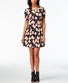 Maison Jules Printed Fit & Flare Dress, Only at Macy's