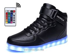 UBELLA Kids Boys Girls USB Charging Sneakers Buckel Fur High Top LED Shoes