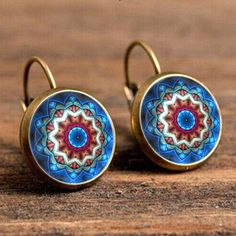 Yoga mandala vintage émail fleur boucle d'oreille bijoux pour om symbole Zen Bouddhisme pour une seule paire de boucles d'oreilles boucles d'oreilles henné EF9