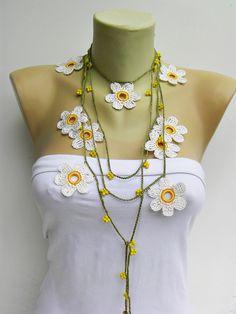 CROCHET JEWELRY -Crochet bead work CROCHET  necklace jewelry/crochet pendant / crochet necklace/ with beads. $21,00, via Etsy.