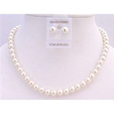 NS446  Cream Pearls Wedding Jewelry Set Cream Pearls Stud Earrings Necklace Set Free Shipping In US