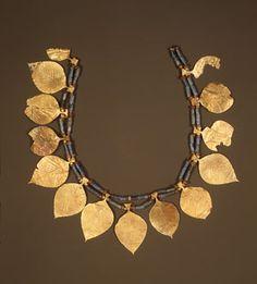 "Headdress with leaf-shaped ornaments, 2600–2500b.c.; Early Dynastic period IIIa; Sumerian styleExcavated at Kings Grave,"" Ur, MesopotamiaGold, lapis lazuli, carnelian"