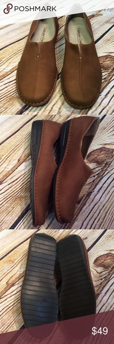 SZ 7.5 COGNAC BROWN LEATHER STADIUM LOAFERS These are NEW WITHOUT BOX loafer style shoes in genuine leather upper with a rubber sole. Coldwater Creek Shoes Flats & Loafers