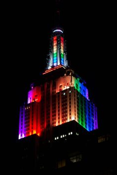 The Empire State Building Lit Up With Rainbow Colors In Honor of New York City Pride Week