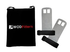 WODFitters Textured Leather Hand Grips For Cross Training Kettlebells Powerlifting Chin Ups Pull Ups WODs  Gymnastics  With Grips Storage Pouch Grey Small  Fits up to 4 >>> Click image to review more details.