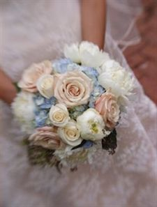 Romantic bouquet with soft pinks and ivories with a touch of blue from Petal Impressions, Westford, MA