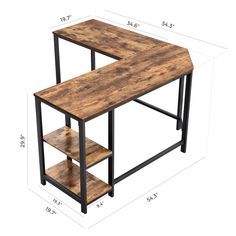 Williston Forge Enprise L-Shape Desk , Home Office Space, Home Office Design, Desk Office, L Shaped Corner Desk, Small L Shaped Desk, Corner Desk Diy, Rustic Tabletop, Industrial Desk, Rustic Industrial Furniture