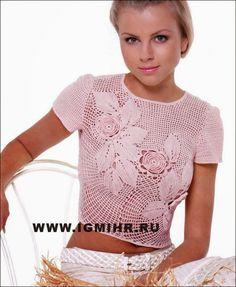 crochelinhasagulhas: Blusa rosa em crochê com aplicações