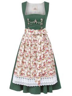 Festdirndl aus Baumwolle in Grün mit Blumenschürze von JAN&INA Trachten - Modell Vintage Flowers