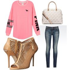 Untitled #446 by evanmonster on Polyvore featuring polyvore fashion style Victoria's Secret PINK Armani Jeans Burberry MICHAEL Michael Kors