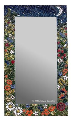 The Night Garden Mosaic Mirror Stained Glass Mirror, Mirror Mosaic, Diy Mirror, Mosaic Wall, Mosaic Glass, Mosaic Tiles, Mosaics, Mosaic Garden Art, Mosaic Diy